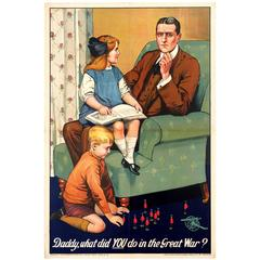 Original World War One Propaganda Poster, Daddy What Did YOU Do in the Great War