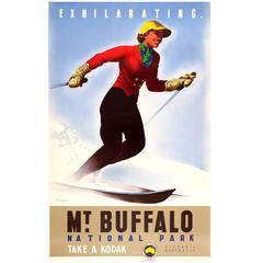 Original Victorian Railways Australia Ski Poster for Mount Buffalo National Park