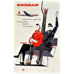 "Original Vintage Swissair Poster ""Seven Seas the Greatest Ski Lift in the World"""