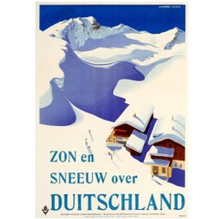 Rare Original Vintage Ski Poster for Sun and Snow in Austria Germany 'Anschluss'