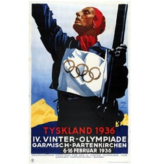 Original Vintage Winter Olympic Games Sport Skiing Poster Tyskland 1936 Germany