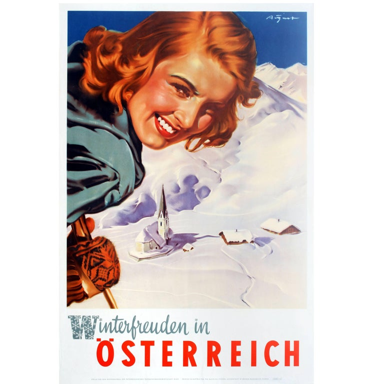 Original Vintage Skiing Poster by Aigner Winter Pleasures in Austria Osterreich For Sale
