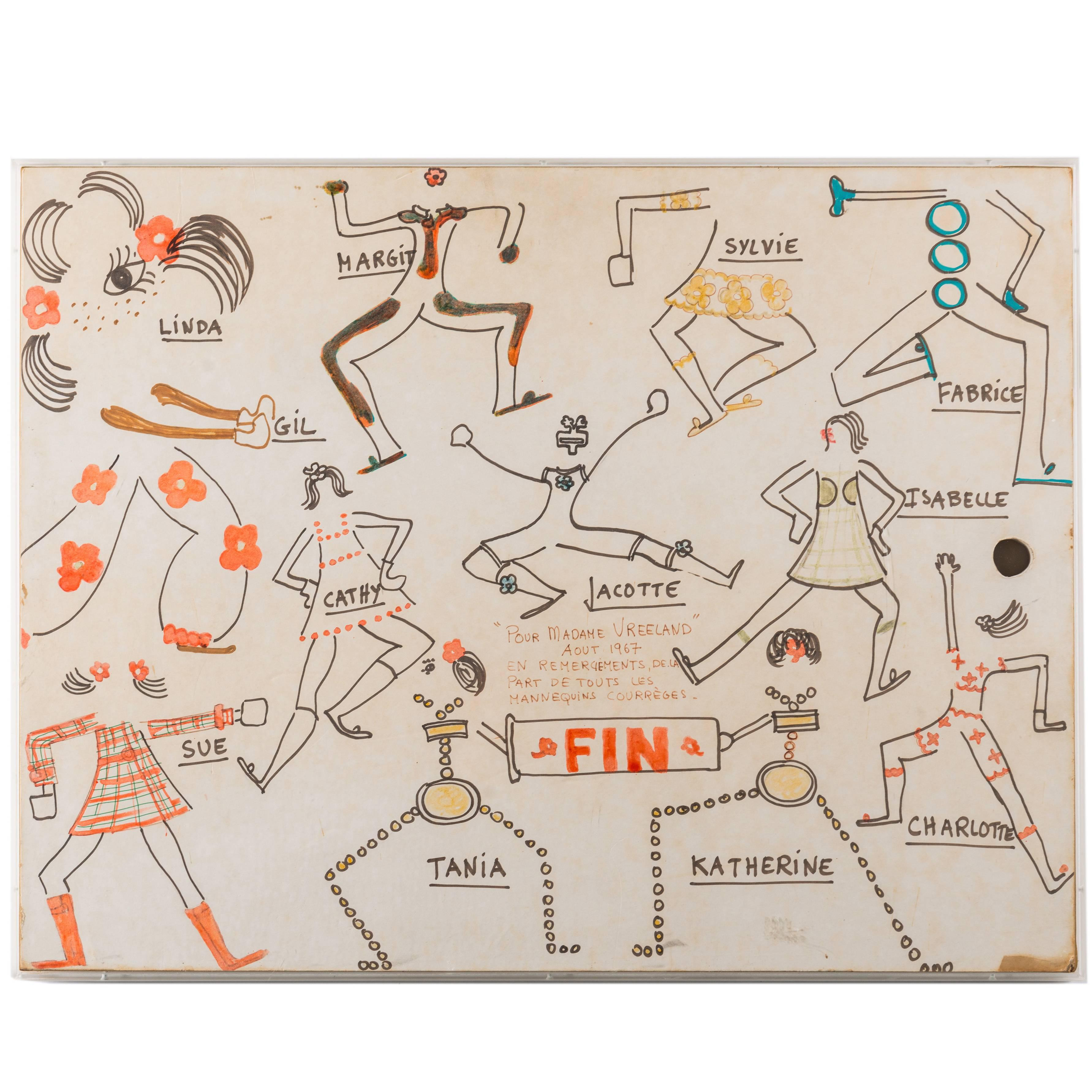 Original Model Drawing by André Courrèges for Diana Vreeland