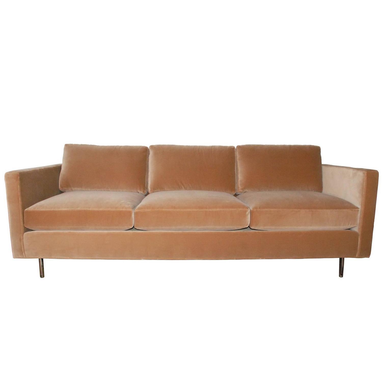Milo Baughman For Thayer Coggin Camel Velvet Sofa For Sale