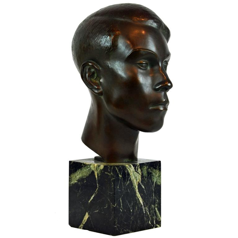 Large Art Deco Bronze Bust of a Young Man by Henry Paquet, Swiss, 1898-1975 For Sale