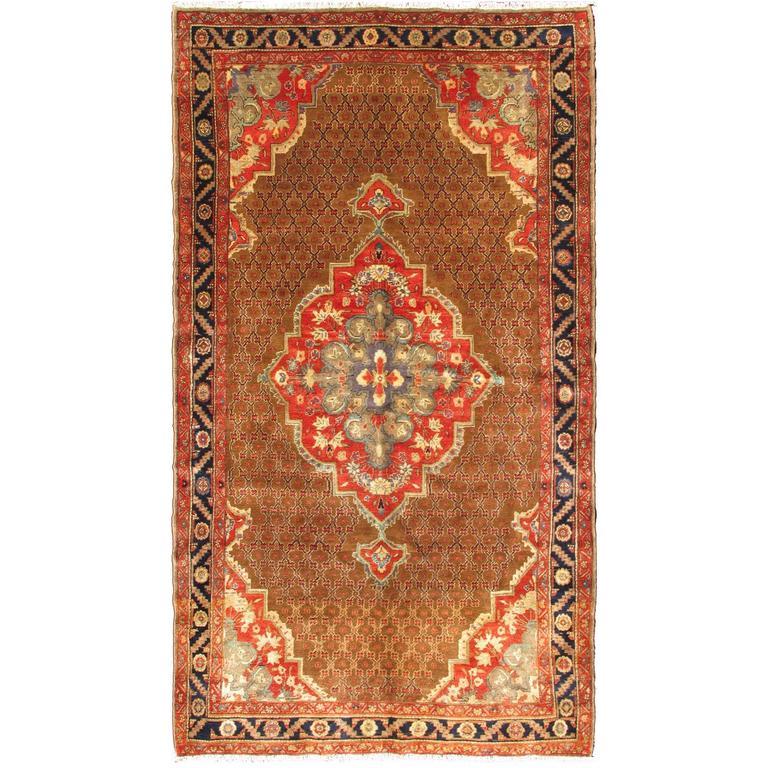 Beautiful Vintage Persian Camel Hair Hamadan Rug 1
