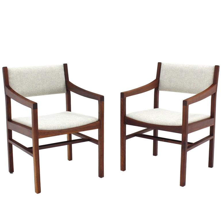 Pair of Oiled Walnut Armchairs New Upholstery