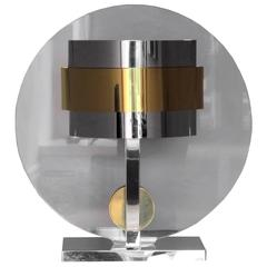 Centre Lamp Sculpture in Brass Chrome and Plexiglass