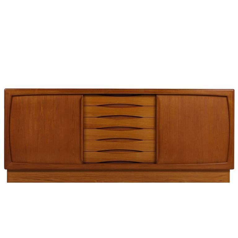 1960s Dyrlund Teak Sideboard with Sliding Doors and Drawers Danish Modern Design