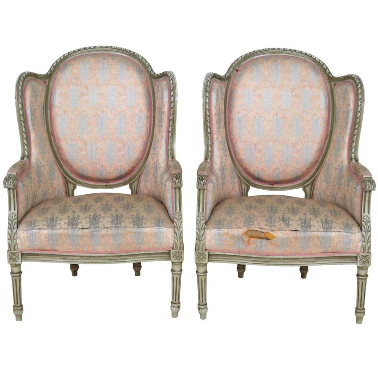 Pair of Louis XVI Style Distressed Painted Bergeres