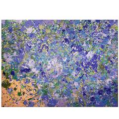 Walasse Ting Abstract Oil Painting - Little Flowers Under Moonlight 1968