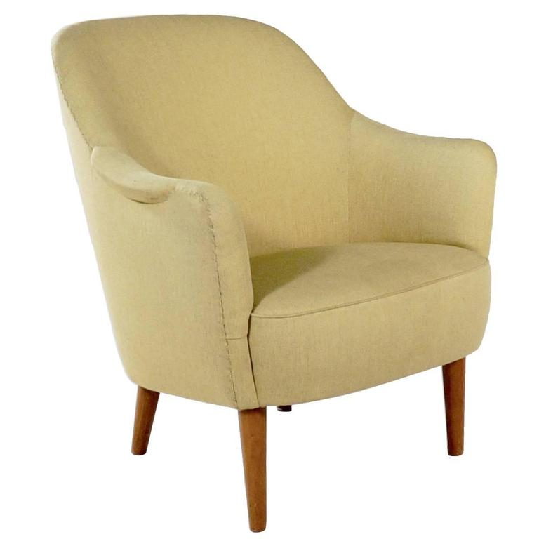 Upholstered 'Sampsel' Chair by Carl Malmsten For Sale