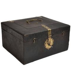 19th Century Leather and Brass Decorative Box from Germany