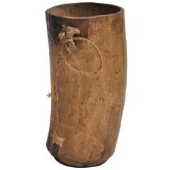 Early 20th Century African Milk Jug in Wood With Metal Repair