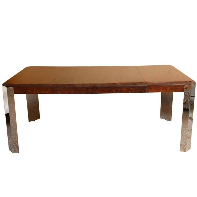 pace burled wood and stainless steel dining table game