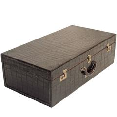 Vintage Alligator Suitcase with Canvas Cover