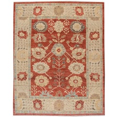 21st Cent. Modern Red Persian Sultanabad Carpet