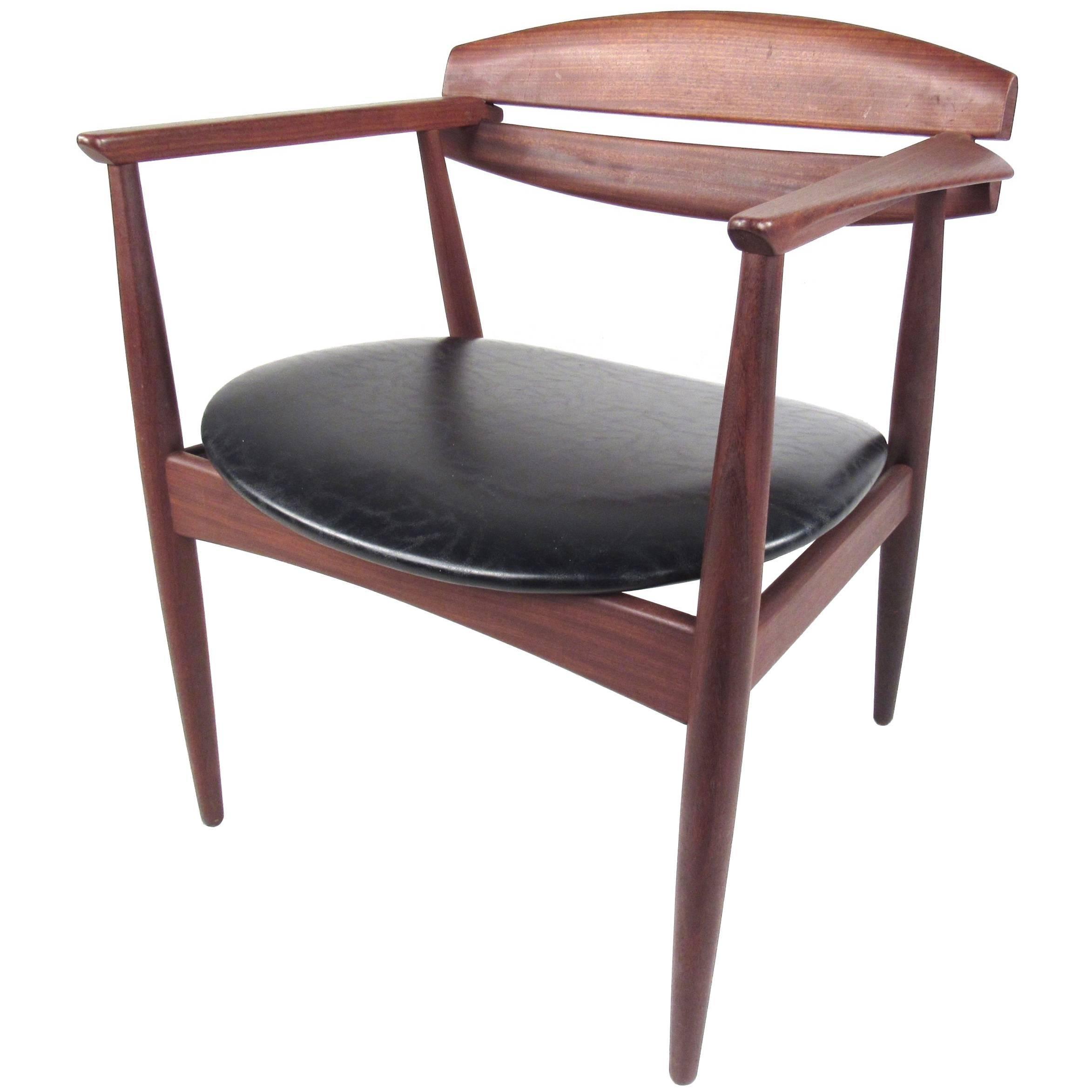 Mid-Century Modern Sculpted Teak Side Chair
