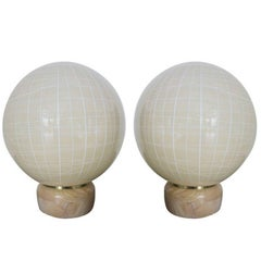 Pair of Italian Murano Glass Globe Lamps by Venini