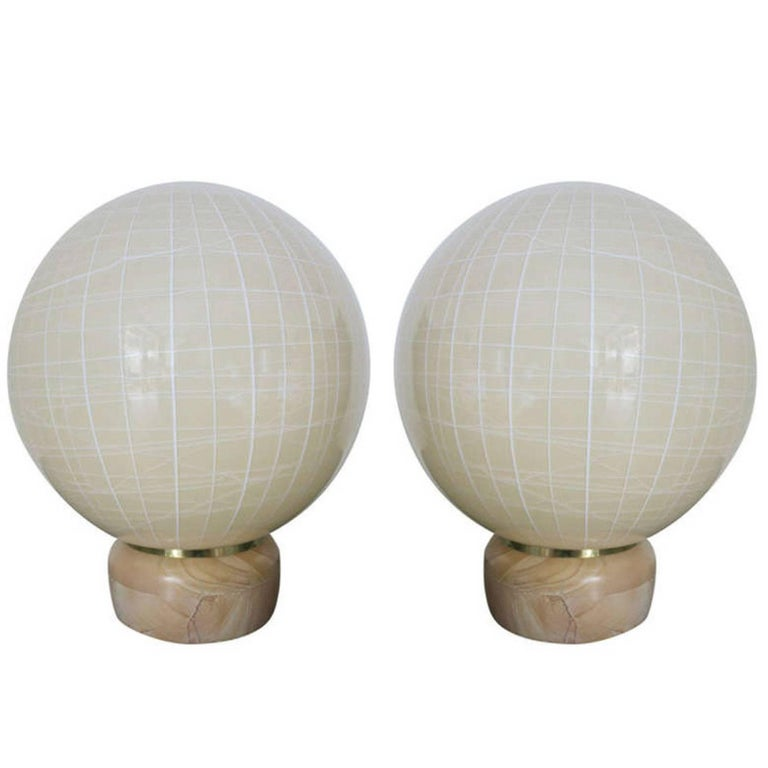 Pair of Globe Lamps by Venini For Sale