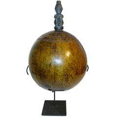 Set of Lacquered Gourds with Carved Figure on Top, on Stand, from Indonesi
