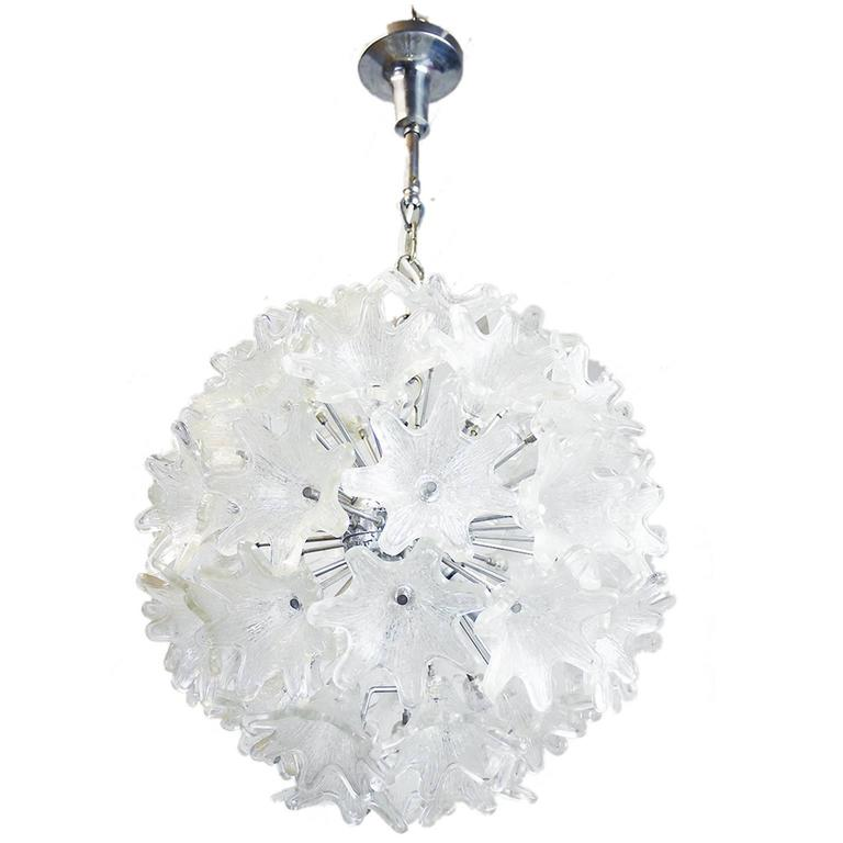 Murano Chrome & Glass Flower Sputnik Chandelier by Venini for VeArt Italy, 1960s For Sale