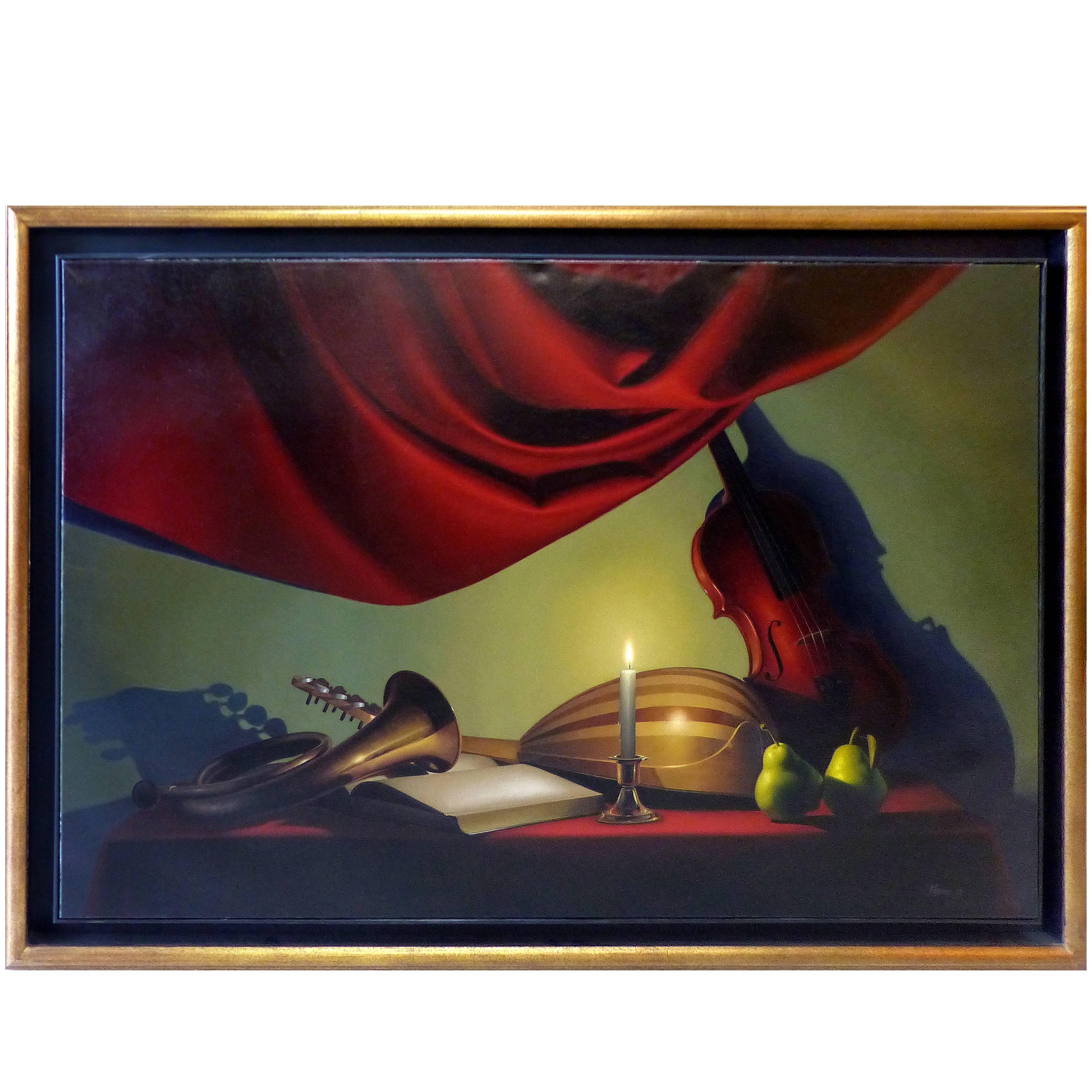 Nicolas Fasolino Realism Oil Painting on Canvas, Argentine Artist