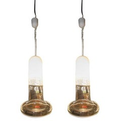 Pair of Mid-Century Murano Glass Ceiling Lamps by VeArt, Venice, Italy, 1960s