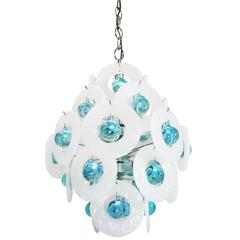 Murano Ice Glass Discs and Balls Chandelier by Vistosi, Italy, 1960s