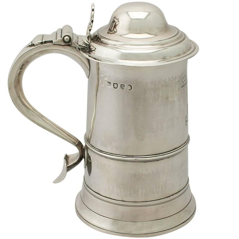 Sterling Silver Pint and a Half Tankard, Antique George III