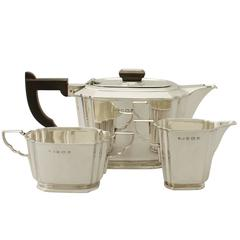Antique George VI Art Deco Style Sterling Silver Three-Piece Tea Service