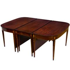 Grand Federal/Hepplewhite Inlaid Mahogany Three-Part Dining Table, 1800-1820