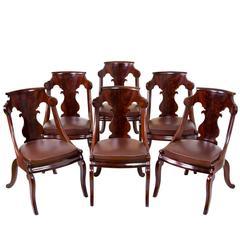 Set of Six Classical Stylized Gondola Chairs, circa 1820-1830, Boston