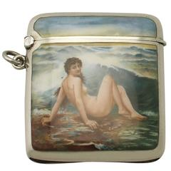 Sterling Silver and Erotica Enamel Vesta Case, Antique Edwardian