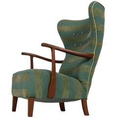 Very Rare Madsen and Schubell Wingback Lounge Chair, Denmark, 1950