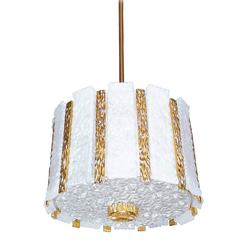 1960s, J.T. Kalmar Gold-Plated and Frosted Glass Drum Chandelier Ceiling Lamp