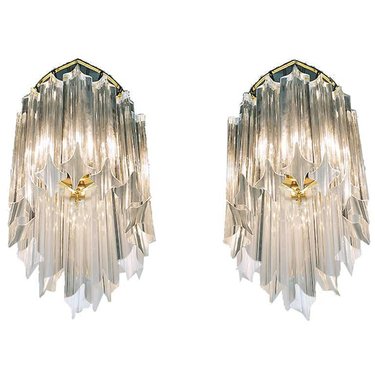Pair of Gold-Plated Wall Sconces with Crystal Glass by Palwa, Germany 1960s
