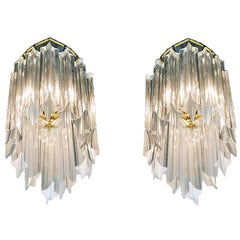 1960 Germany Palwa Wall Sconce Crystal & Gilt Brass, Set of 2