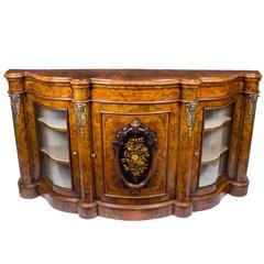 19th Century Victorian Burr Walnut Serpentine Credenza