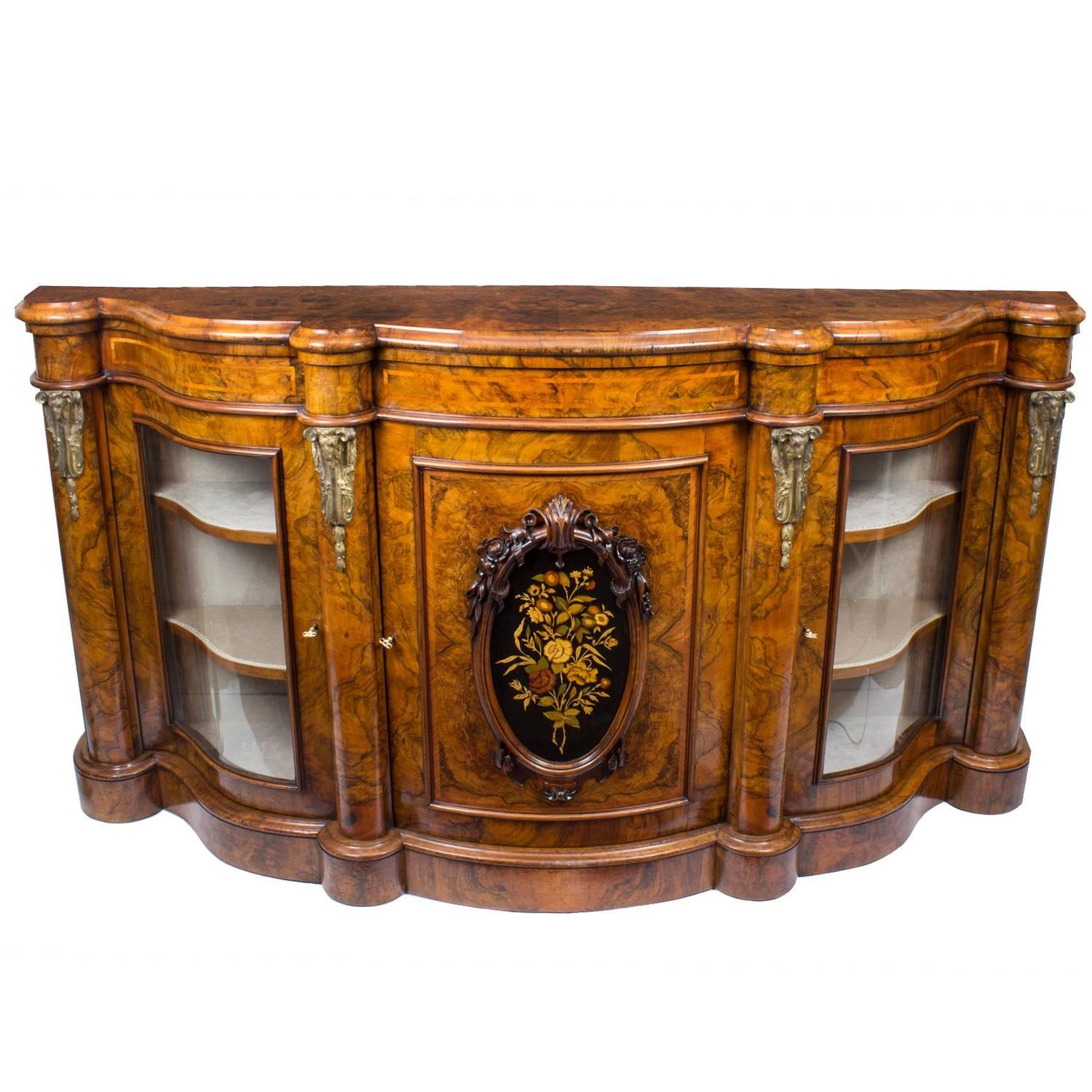 Antique Victorian Burr Walnut Serpentine Credenza circa 1860 For
