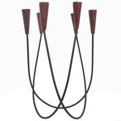 Sculptural Danish String Design Teak Candleholder Candlestick