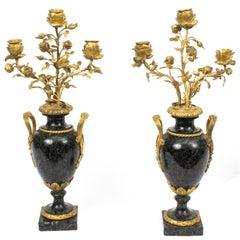 19th Century Pair of Ormolu Verde Antico Marble Candelabra