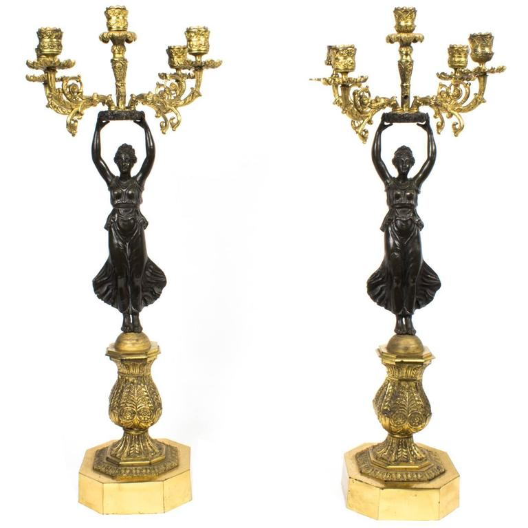 19th Century Pair of Large Empire Ormolu Bronze Candelabra