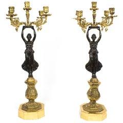19th Century Pair of Empire Ormolu Bronze Candelabra