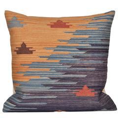 Vintage Peruvian Textile Rug with Irish Linen Cushion Pillow
