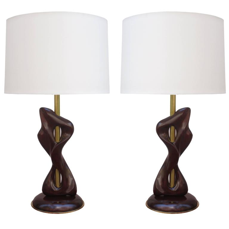 Pair of Sculptural Modernist Table Lamps 1