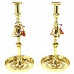 Pair of English Brass Bell Tavern Candlesticks, 19th Century