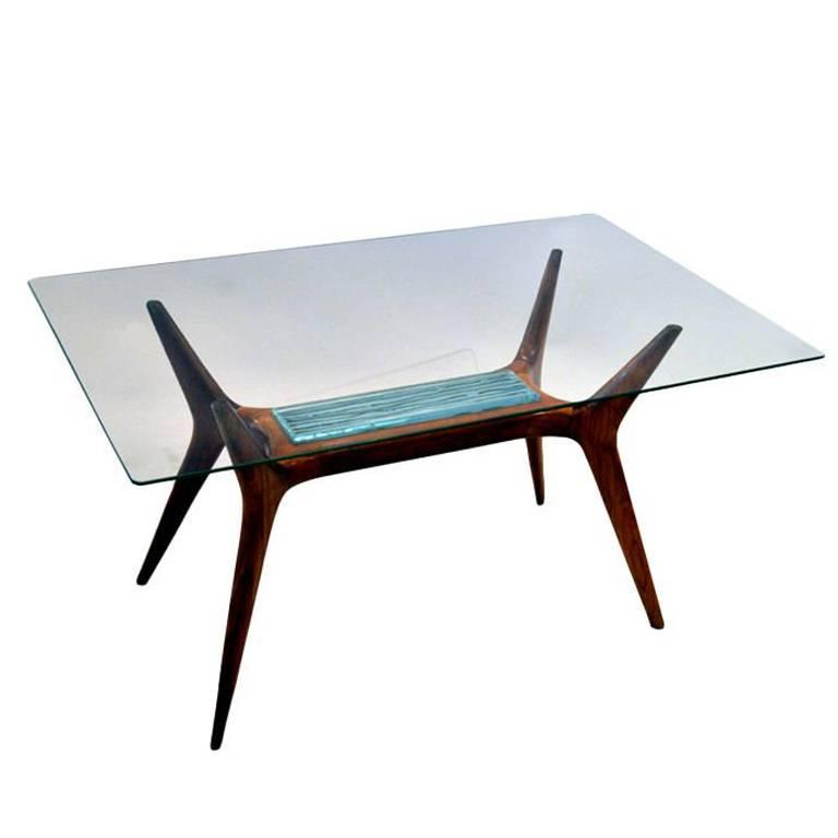MidCentury Maple And Glass Side Table With Etched Glass Insert - Maple and glass coffee table