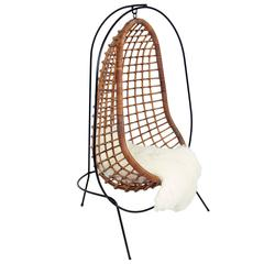 Sculptural Iron and Rattan Hanging Chair