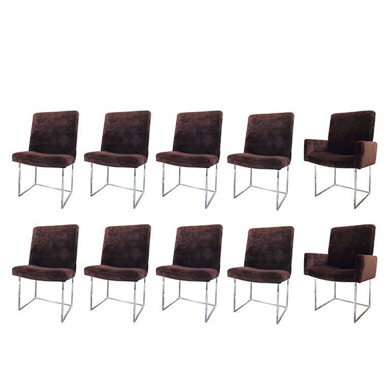 Set of Ten Milo Baughman Brown Velvet and Chrome Dining Chairs